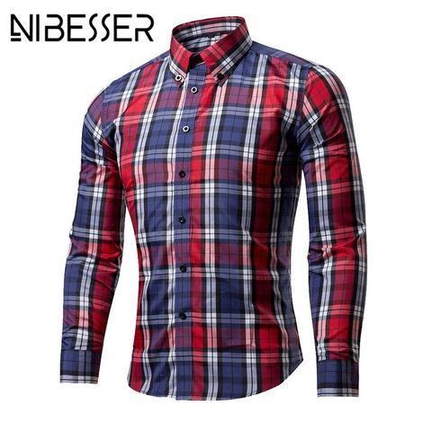 7f8f3f35469 NIBESSER Men Long Sleeve plaid Shirts Classic Camisa Social shirt Masculina  Shirts Dresses casual slim fit chemise homme 2018