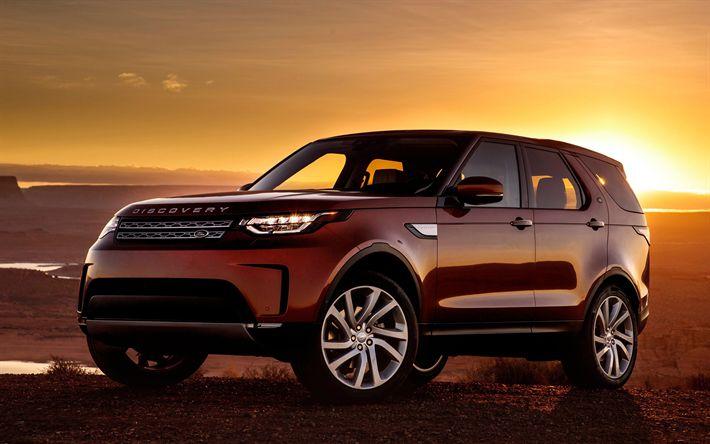 Descargar fondos de pantalla Land Rover Discovery, 2017, SUV, el nuevo Descubrimiento, rojo Discovery, Land Rover
