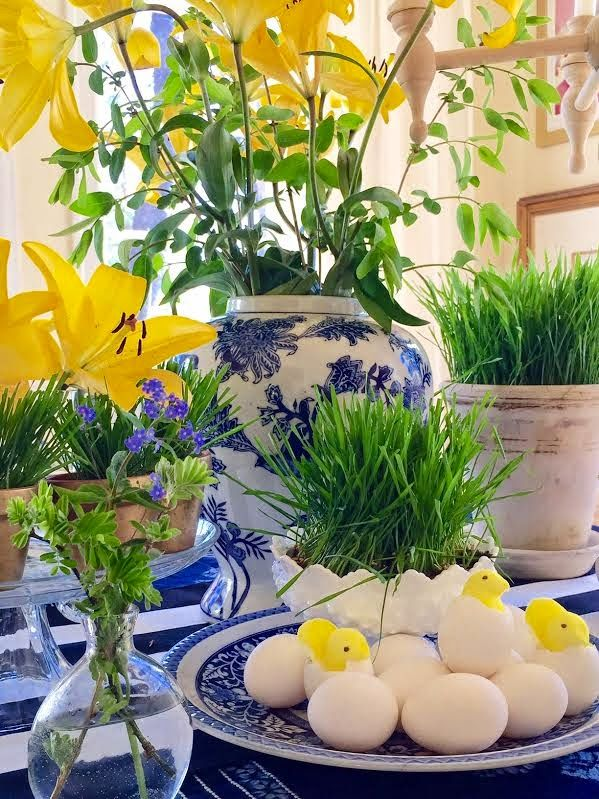 spring table for easter simple details the peeps in cracked egg shells are darling