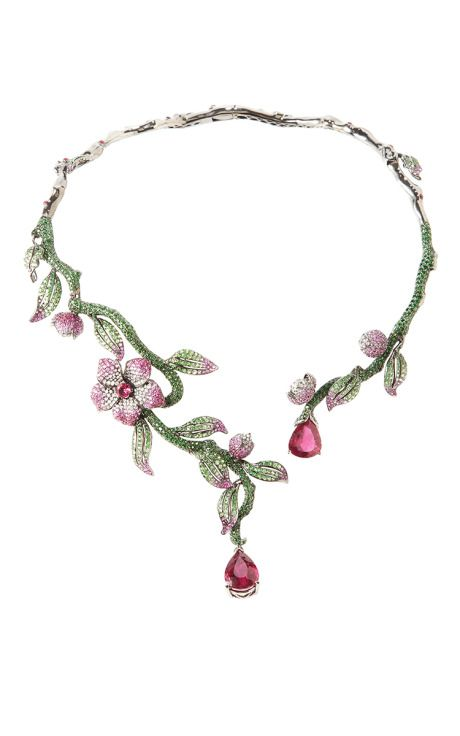 Flower And Vine Necklace by Wendy Yue for Preorder on Moda Operandi