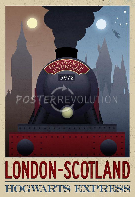 London- Scotland Hogwarts Express Retro Travel Poster - 13x19