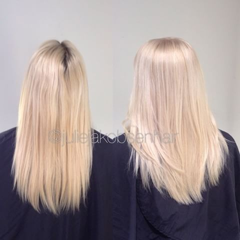 Did a touch up on the roots with Wella Blondor 6% and a glossing with #Illuminacolor 10g 8/ + 10g 10/69 + 10g 10/1 30g 1,9% for 10 minutes Love this icy but natural tone I added 1/8 #olaplexnorge in the on scalp bleach and in the glossing ✌️ #wellalife #wellahair #wellamastercolorexpert