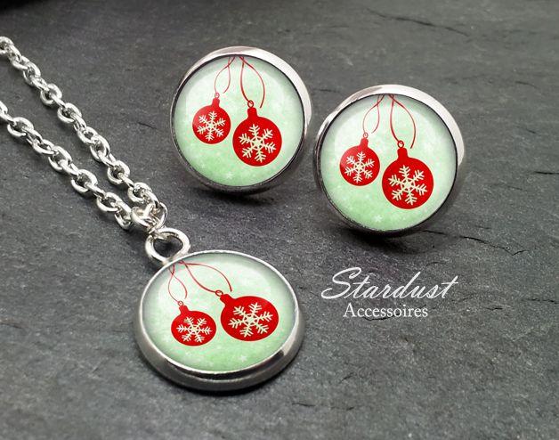 Schmuckset silber ❅ Weihnachtskugeln grün ❅ von Stardust Accessoires auf DaWanda.com