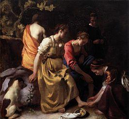 c 1653-1656 - Vermeer, Johannes - Diana and her Companions (Diana en haar Nimfen) - Oil on canvas 98.5 x 105 cm. - Mauritshuis, The Hague