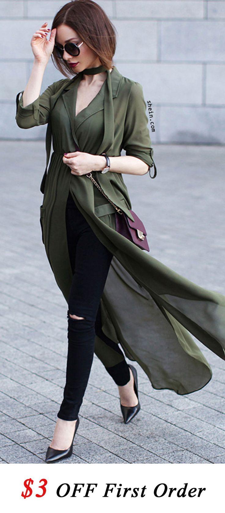 Green Deep V Neck Self-Tie Pockets Chiffon Blouse