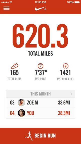 Nike running app iPhone Screenshot 1