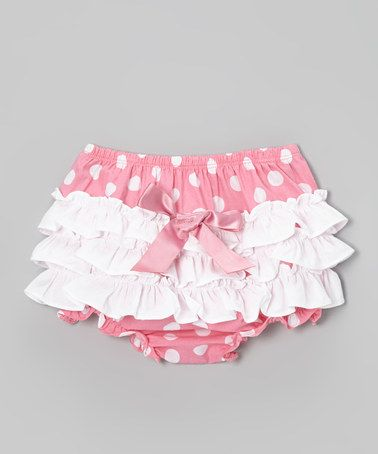Take a look at this Pink & White Polka Dot Ruffle Diaper Cover - Infant & Toddler by Bubby & Belle on #zulily today!