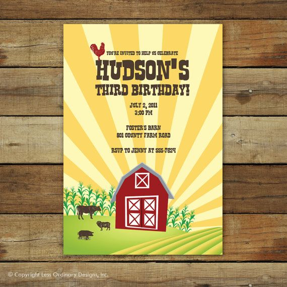 Modern farm birthday party invitation - Vintage barnyardFarms Birthday, Birthday Party Invitations, Birthday Parties, Farms Parties, Birthday Invitations, Vintage Barnyard, Barnyard Birthday, Modern Farms, Parties Invitations