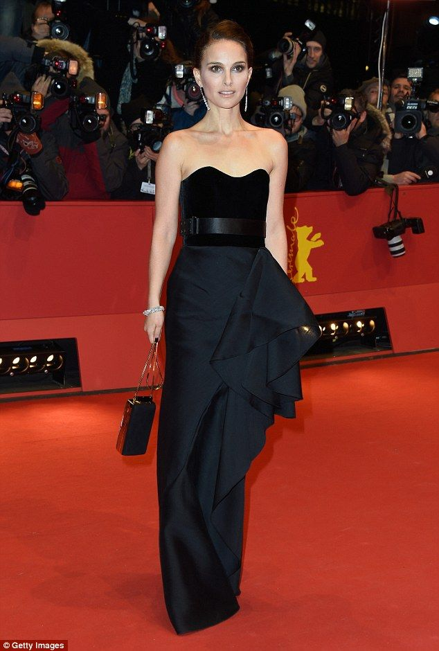 Black swan: Natalie Portman looked stunning as she arrived at the premiere of Knight of Cu...