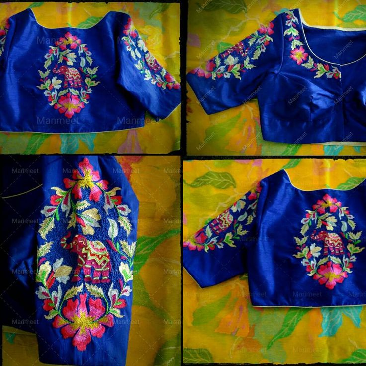 Beautiful royal blue color designer blouse with floret lata and elephant design hand embroidery multi color thread work.  20 September 2017