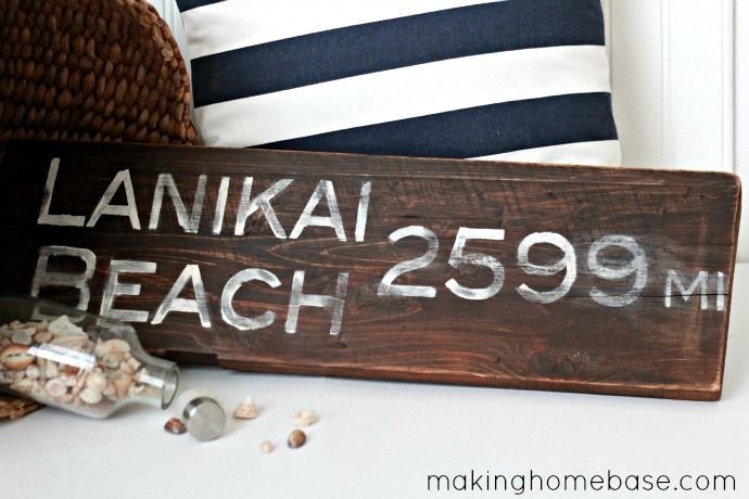 Salvaged Wood Sign with the distance to your favorite beach.