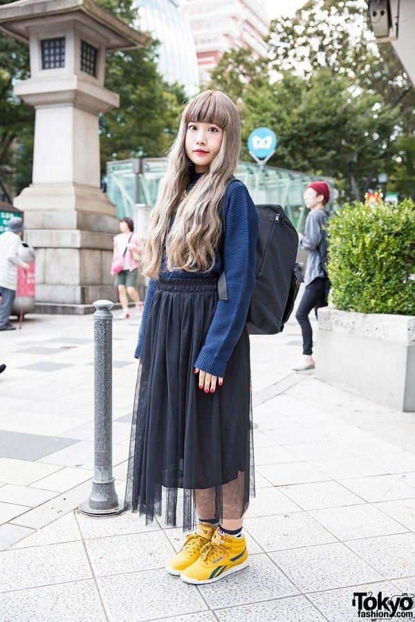 Spinns Harajuku Sweater & Necklace w/ Sheer Skirt & Reebok Sneakers (Tokyo Fashion News)
