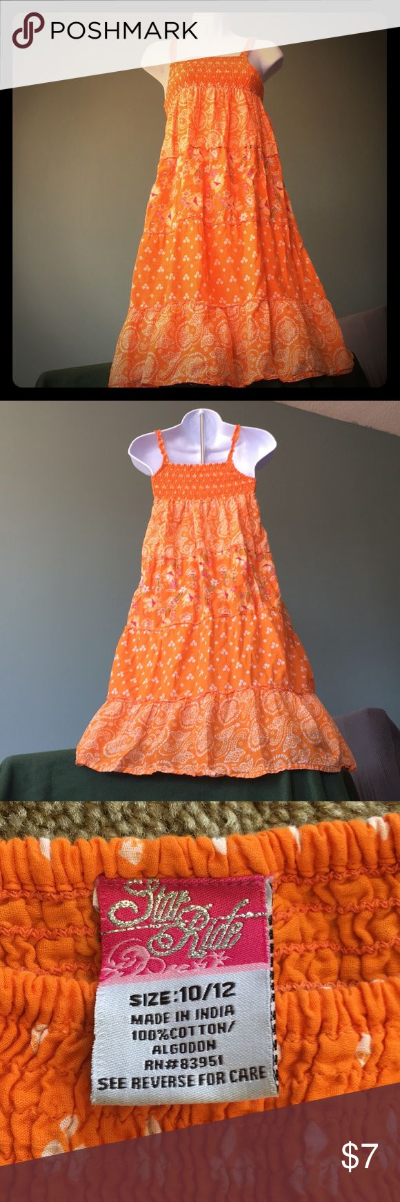 Orange sun dress. Girls 10-12. EUC. Lined Daughter wore once. Hand washed. Fun boho dress for girls/tween age. Solid liner from waist down to hem. Star Ride Dresses Casual