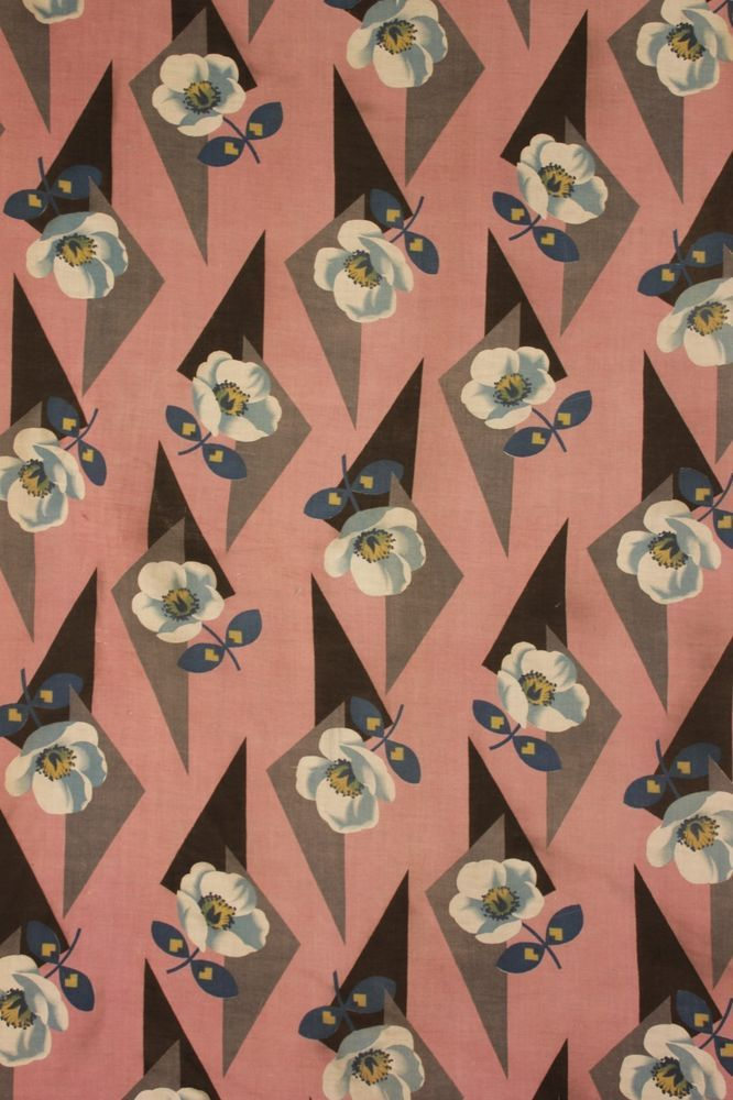 Art Deco, fabric, 1920's -1930's, pattern, design, floral, geometric, triangles, colour, print, repeat