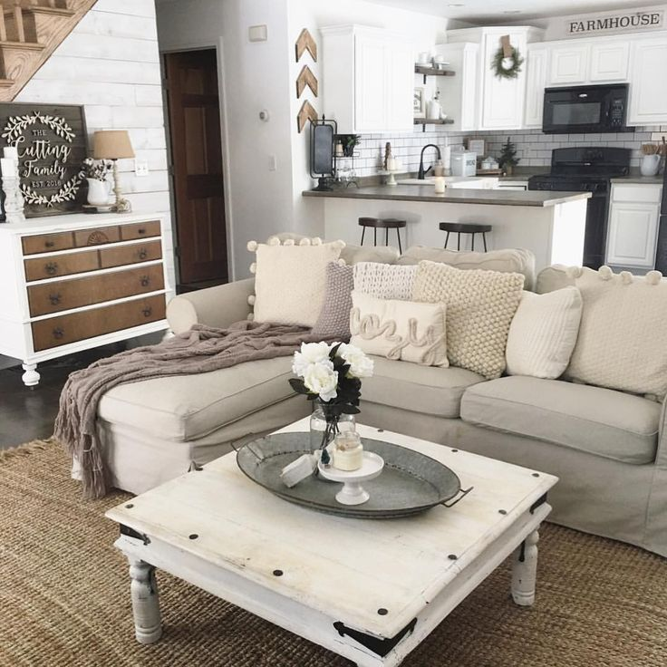 1344 likes 34 comments kaley thelittlewhitefarmhouse on instagram these farmhouse living roomsfarmhouse decorfarmhouse - Neutral Living Room Design