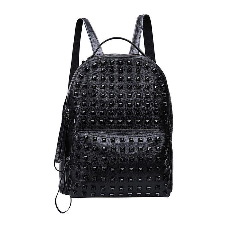 Venta de mochilas escolares negro bolsos de bandolera originales con remaches chicas [AL93059] - €74.68 : bzbolsos.com, comprar bolsos online