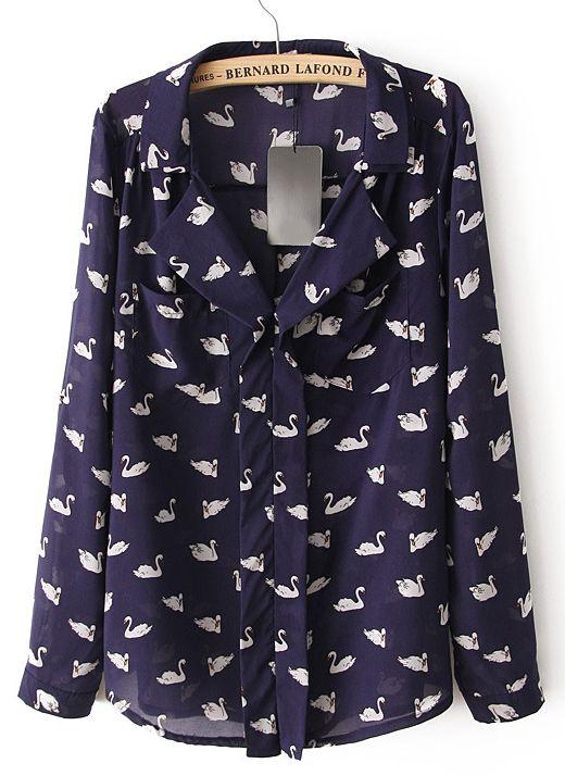 Navy V-neckline Notch Lapel Swan Print Shirt