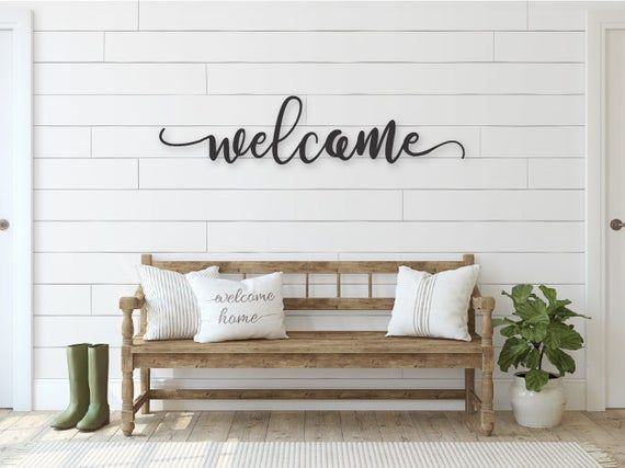 Welcome Sign Welcome Wood Sign Welcome Cutout 1/2″ Thick Wooden Letters Welcome Sign Farmhouse Decor