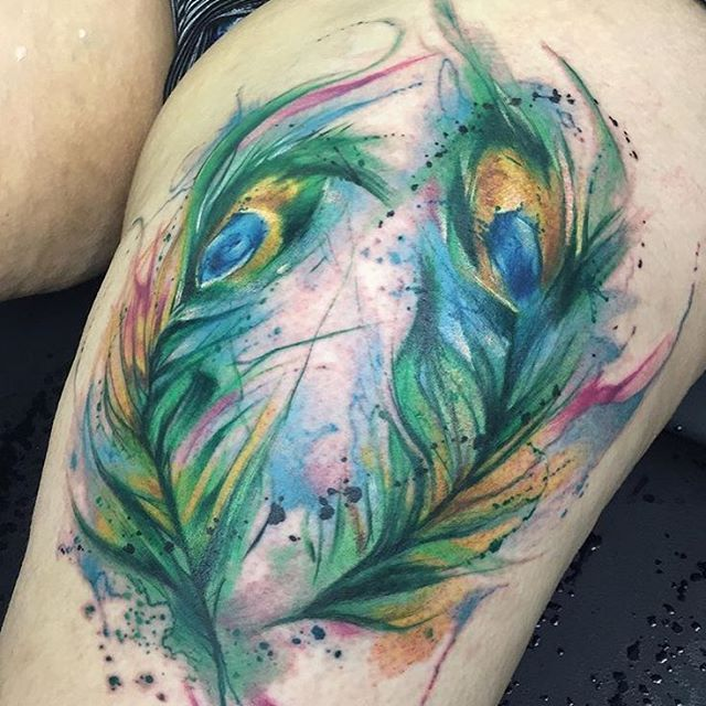 """Beautiful dancing peacock feathers by @kristkarloff  #perfecttattoo…"