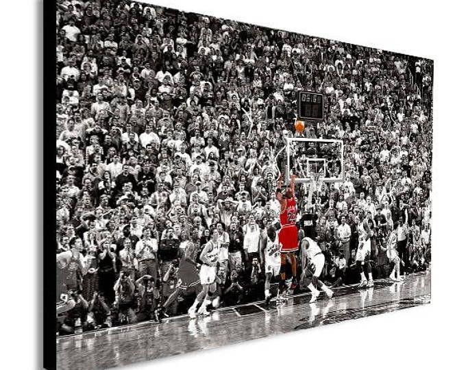 Michael Jordan Last Shot Canvas Wall Art Framed Print Etsy Wall Canvas Canvas Wall Art Framed Canvas Prints