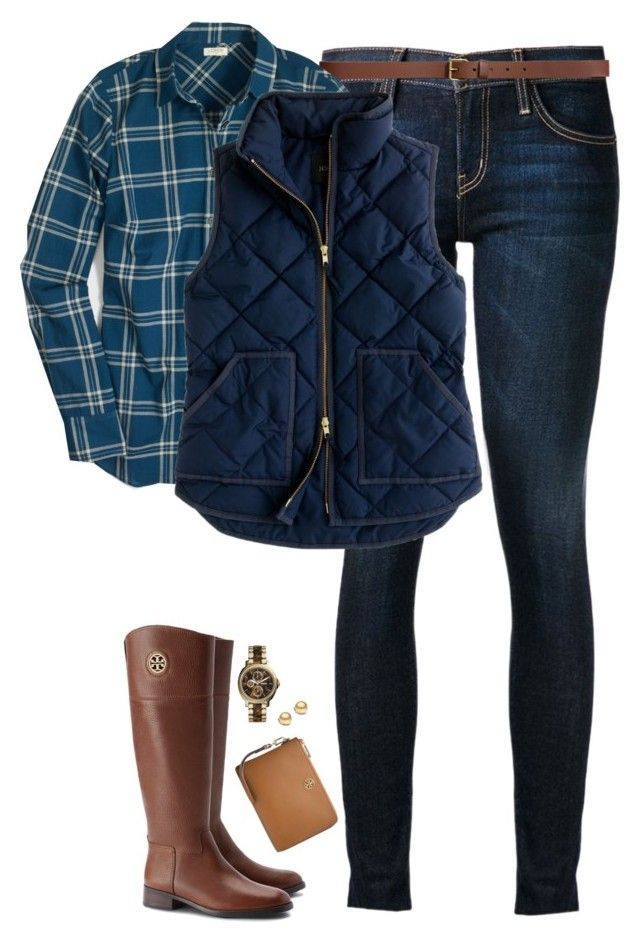 """Plaid button down, vest & riding boots"" by steffiestaffie ❤ liked on Polyvore featuring мода, Current/Elliott, H&M, J.Crew, Tory Burch и FOSSIL"