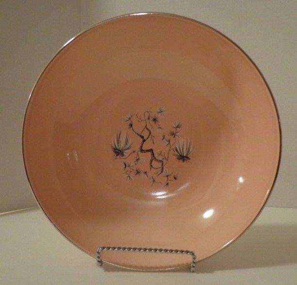 Vegetable Bowl TST Dwarf Pine Taylor Smith Taylor Retro Pink Pine Trees Vtg   #TST