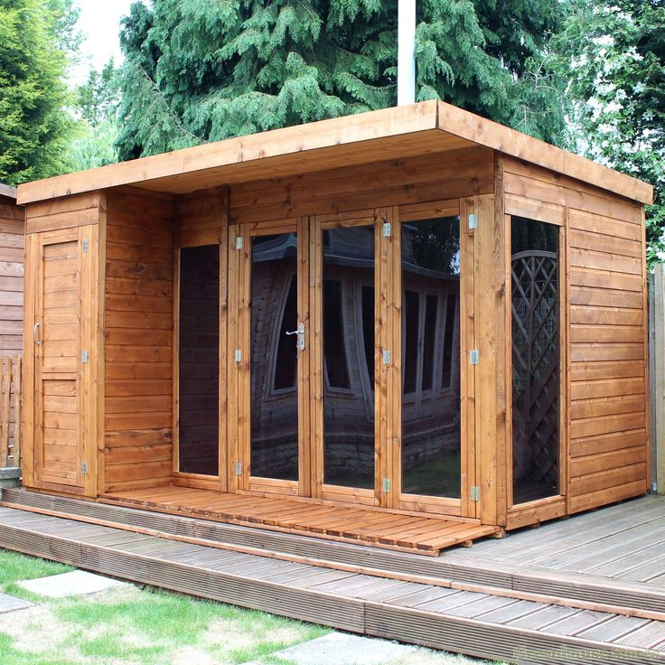 Garden Sheds Rooms cotswold 12x8 modern garden room with side shed | greenhouse
