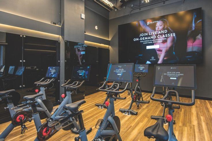 Peloton Cycling Studio At Spoke Apartments Home Gym Design Fitness Center Apartment Gym