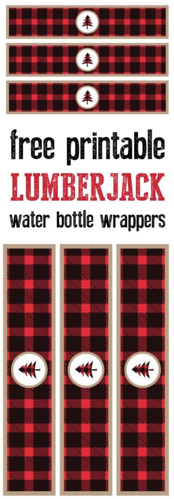 Lumberjack water bottle wrappers free printable. Print these labels for your lumberjack birthday party or baby shower or woodsy wedding. https://www.birthdays.durban