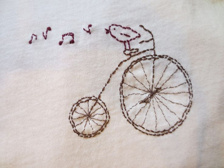 classic bicycle with singing bird - embroidery (on t-shirt)