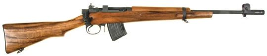 The  M10-A1 7.62x39mm Jungle Carbine. Based of the venerable British Lee Enfield used in both WWI and WWII. A compact, light rifle with the fastest operating bolt action ever made. Takes AK mags. Can be used for  taking both medium game within 150-200 yards and fighting off dangerous game and two legged predators, if needs be.