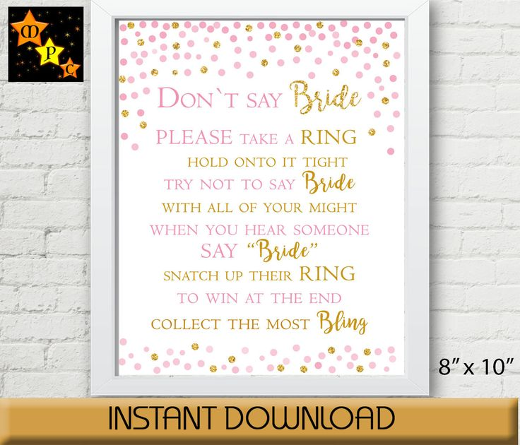 Don't say Bride, Pink and Gold Confetti, Bridal Shower Game, Wedding Shower Game, Printable Instant Digital Download by MagicPrintCenter on Etsy