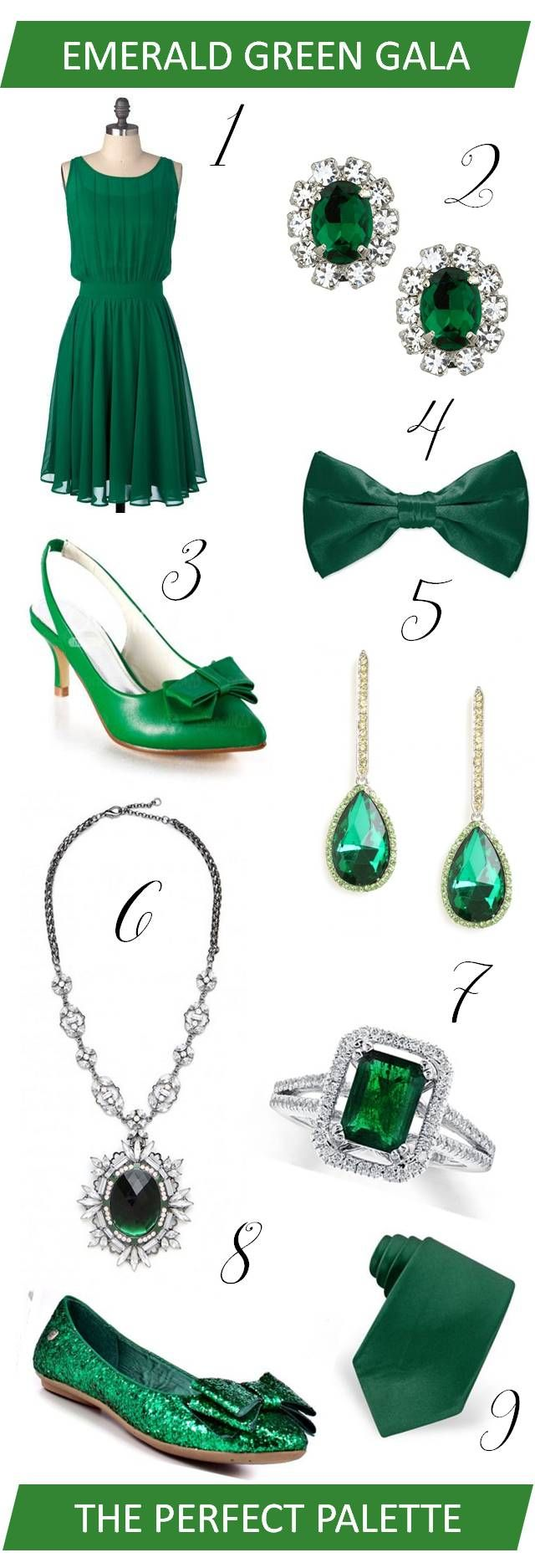 {wedding wardrobe}: emerald green gala http://www.theperfectpalette.com/2013/01/wedding-wardrobe-emerald-green-gala.html
