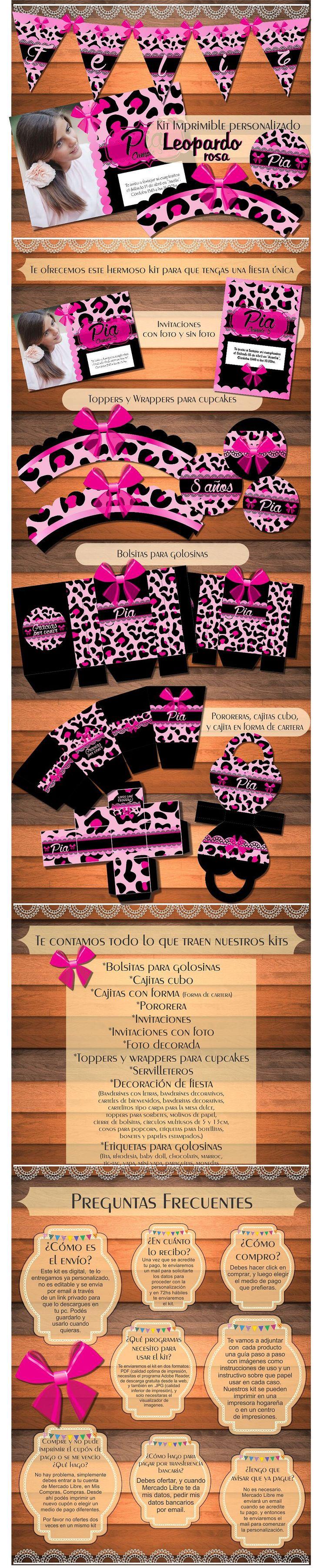 Kit Imprimible Personalizado Animal Print Leopardo Rosa - $ 150,00