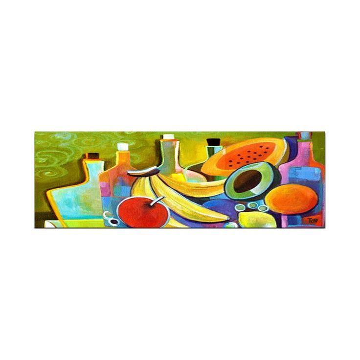 Vrolijk acryl schilderij 'My Kitchen' van Irina, leuk voor in de keuken of eetkamer maar ook geschikt voor een restaurant | Kunstvoorjou.nl #schilderij #fruit #keuken #restaurant #eetkamer #bananen #muurdecoratie #kunstvoorjou #Irina