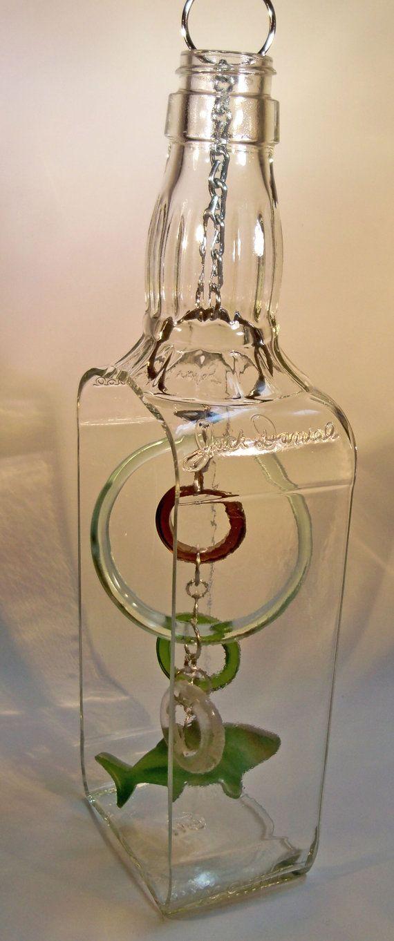 Jack Daniel's Bottle Wind Chime Suncatcher by CBreezeDesigns