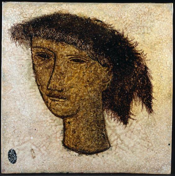 Jorge Barradas   Placa (cabeça)   1958   Museu Nacional do Azulejo / Nacional Azulejo Museum #Azulejo #JorgeBarradas