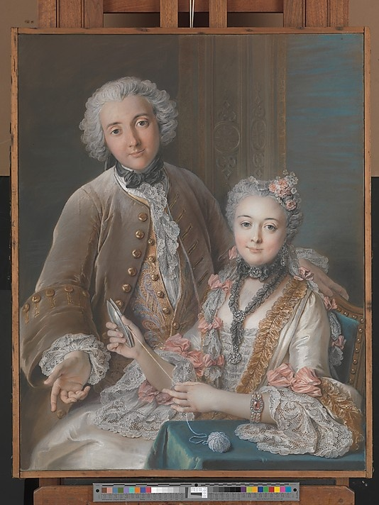 Double Portrait Presumed to Represent François de Jullienne (1722–1754) and His Wife (Marie Élisabeth de Séré de Rieux, 1724–1795)  Charles Antoine Coypel  (French, Paris 1694–1752 Paris)  Date: 1743 Medium: Pastel, black chalk, watercolor, and traces of black chalk underdrawing on four joined sheets of handmade blue laid paper, mounted on canvas and adhered to a keyed stretcher: Charles Antoin, Séré De, Françoi Of, De Séré, Double Portraits, De Rieux, 18Th Century, Antoin Coypel, Élisabeth De