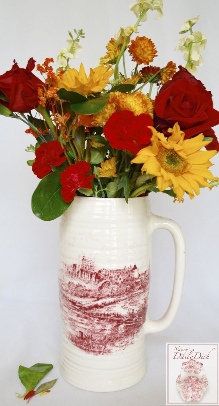 VINTAGE, ENGLISH, RED / PINK TRANSFERWARE PITCHER Ribbed Pitcher with floral handle and castle scene on each side or could be used as Vase (as shown) or for kitchen utensils or to store a toilet bowl