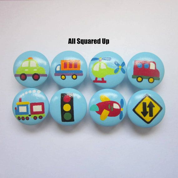 Set of 8-Blue Transportation themed Drawer Knobs with Cars, Trucks, Trains, Planes, etc.-all Hand Painted