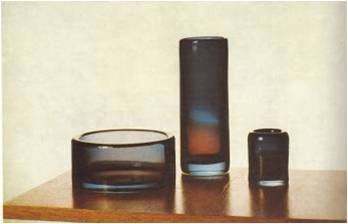 Lubomir Blecha, the set of glass bowls from serie Sedimenticae, contemporary picture published in Vytvarny zivot, glasswork Skrdlovice, 1963, Czechoslovakia