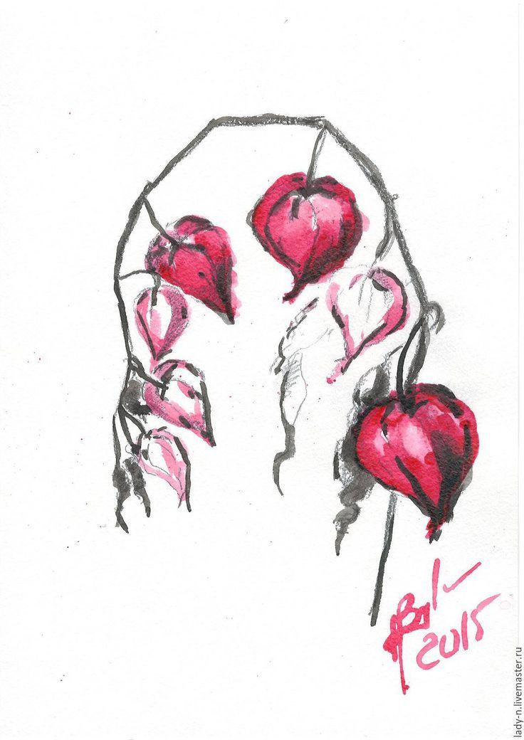 """Купить Триптих """"Физалис"""", картина, тушь - черный, красный, белый, минимализм, тушь, карандаш, цветок"""