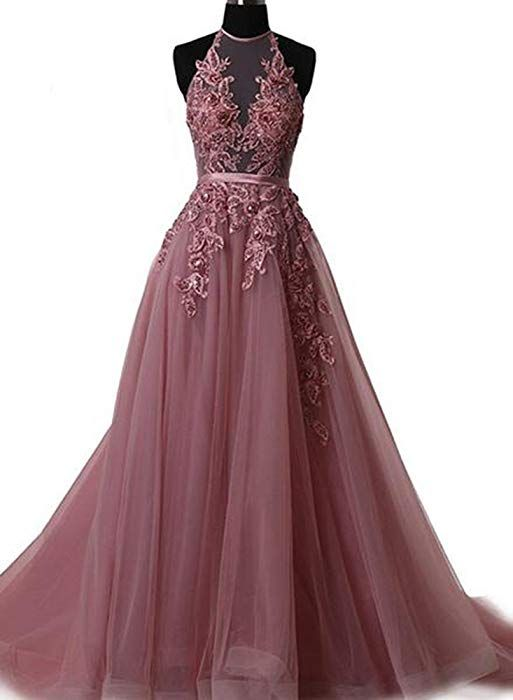 acd32f82a6ac Fanciest Women's Halter Prom Dresses Long 2018 Appliques Backless Evening  Formal Dress Plum US2 at Amazon Women's Clothing store: