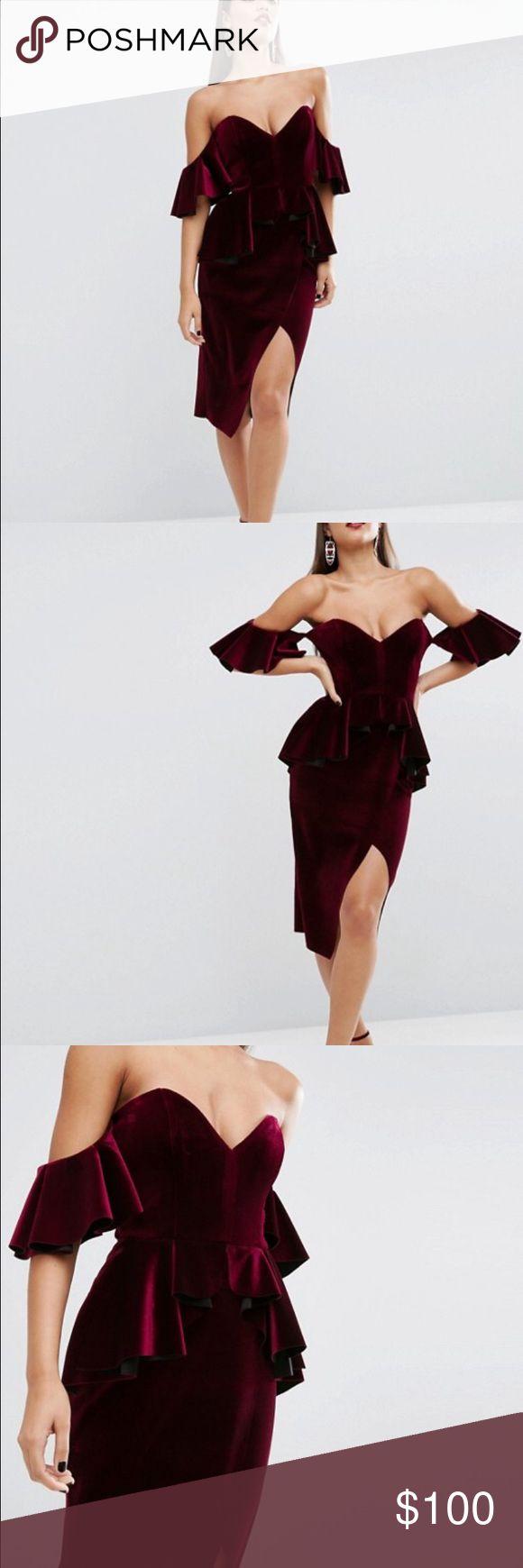 ASOS RED CARPET Ruffle Sleeve Velvet Midi Dress ASOS RED CARPET Ruffle Sleeve Velvet Midi Dress ASOS Dresses Midi