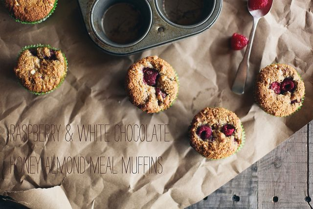 Raspberry  white chocolate honey almond meal muffins