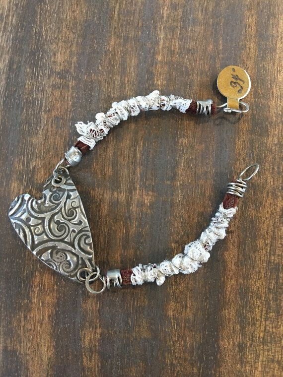 Wire Wrapped Leather and Vintage lace Bracelet by TheRustyOwls