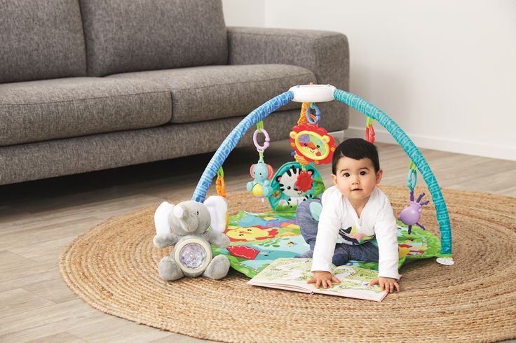Your baby can lay and play or enjoy tummy time with rainforest friends as they grow. This musical gym features 11 activities and toys, including teethable surfaces, lights and music to keep baby entertained.