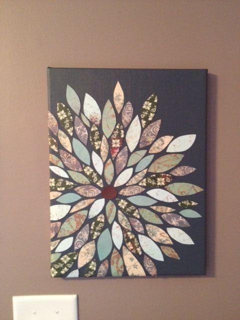 Flower artwork...scrapbooking paper on painted canvas. Great impact for minimal work!: Flowers Wall, Idea, Wallart, Scrapbook Paper Flowers, Diy Crafts, Paintings Canvas, Diy Canvas, Diy Wall Art, Paper Leaves