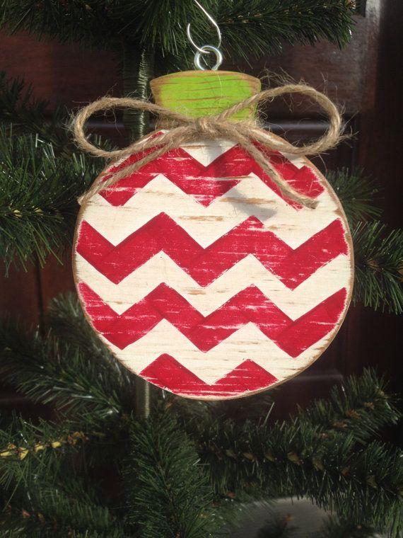 Chevron Stripe Wood Ornament by CelebrateOrnaments on Etsy, $12.00