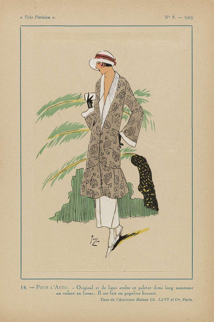 Anonymous | Très Parisien, 1923, No 8: 14.- POUR L'AUTO. - Original et de ligne..., Anonymous, Ch. et Cie Lavy, G-P. Joumard, 1923 | Ensemble voor in de auto. Halflange paletot met volant van 'popeline brocart'. Stof van Ancienne Maison Ch. Lavy et Cie. Accessoires: cloche (pothoed), handschoenen, pumps. Prent uit het modetijdschrift Très Parisien (1920-1936).